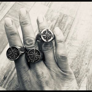 Men's 316 Stainless Compass Ring